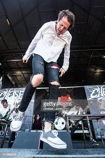 Vocalist Alex Koehler of Chelsea Grin performs at the Vans Warped Tour at ATT Park on June 23 2012 in San Francisco California