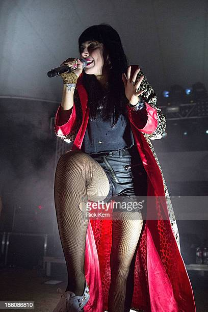 Vocalist Alexis Krauss of Sleigh Bells performs in concert at Stubb's BarBQ on October 27 2013 in Austin Texas