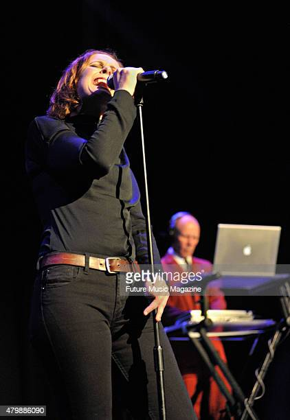 Vocalist Alison Moyet and keyboardist Vince Clarke of English synth pop group Yazoo performing live on stage as part of the Mute Records 80's Night...