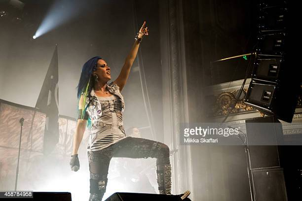 Vocalist Alissa WhiteGluz of Arch Enemy performs at The Regency Ballroom on November 10 2014 in San Francisco California