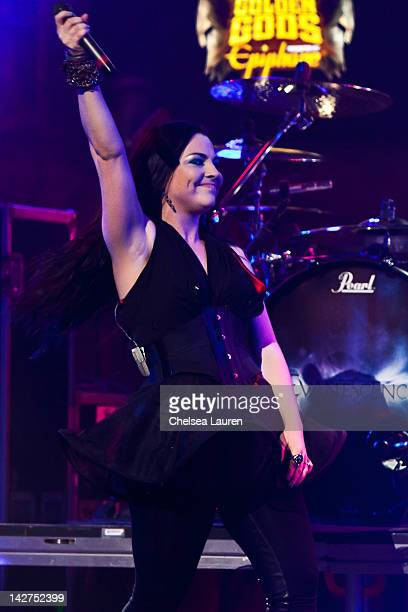 Vocalist Amy Lee of Evanescence performs at the 4th annual Revolver Golden Gods awards at Club Nokia on April 11 2012 in Los Angeles California