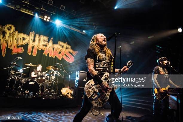 Vocalist and guitarist Ginger Wildheart and bassist Danny McCormack of English hard rock group The Wildhearts performing live on stage at KOKO in...