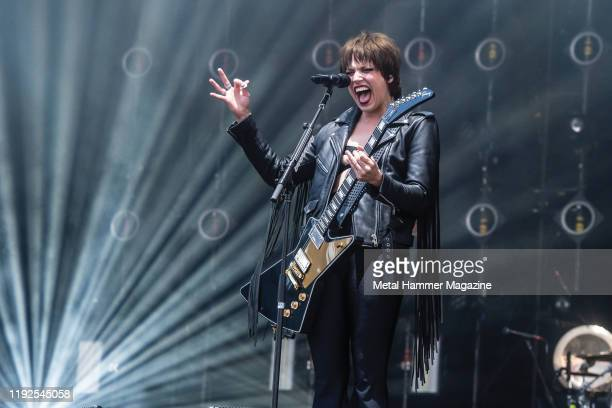 Vocalist and guitarist Lzzy Hale of American hard rock group Halestorm performing live on stage during Download Festival at Donington Park on June 15...