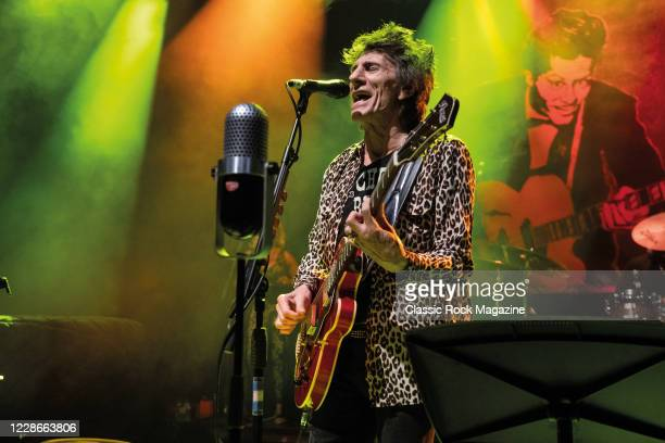 Vocalist and guitarist Ronnie Wood of rock group Ronnie Wood with His Wild Five performing live on stage at the O2 Shepherds Bush Empire in London,...