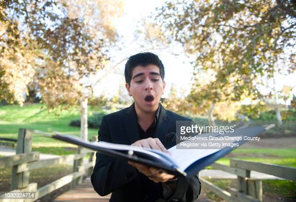 Vocalist Andrew Hernandez is the Varsity Arts' Artist of the Week Here' he sings during a portrait at La Mirada Creek Park in La Mirada...