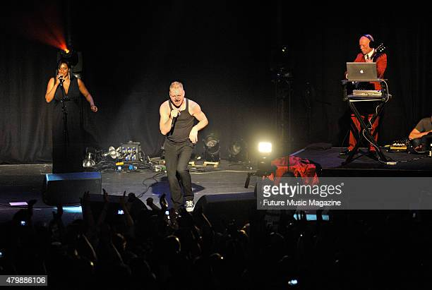 Vocalist Andy Bell and keyboardist Vince Clarke of English synth pop group Erasure performing live on stage as part of the Mute Records 80's Night at...