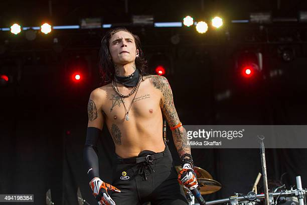 Vocalist Andy Biersack of Black Veil Brides performs at 2015 Monster Energy Aftershock Festival at Gibson Ranch County Park on October 24 2015 in...