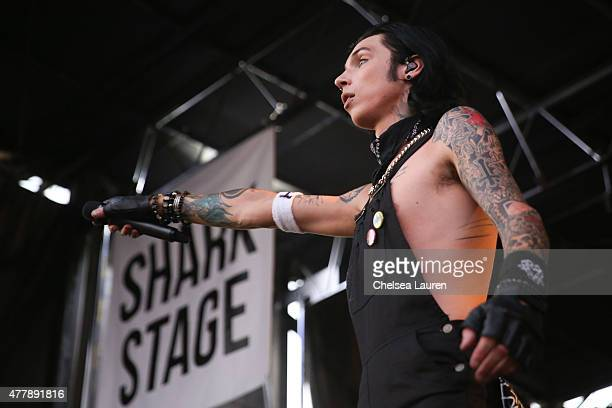 Vocalist Andy Biersack of Black Veil Brides performs during the Vans Warped Tour at Fairplex on June 19 2015 in Pomona California