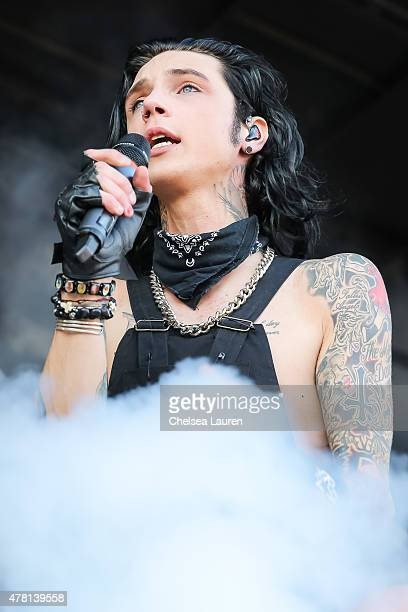 Vocalist Andy Biersack of Black Veil Brides performs during the Vans Warped Tour at Seaside Park on June 21 2015 in Ventura California
