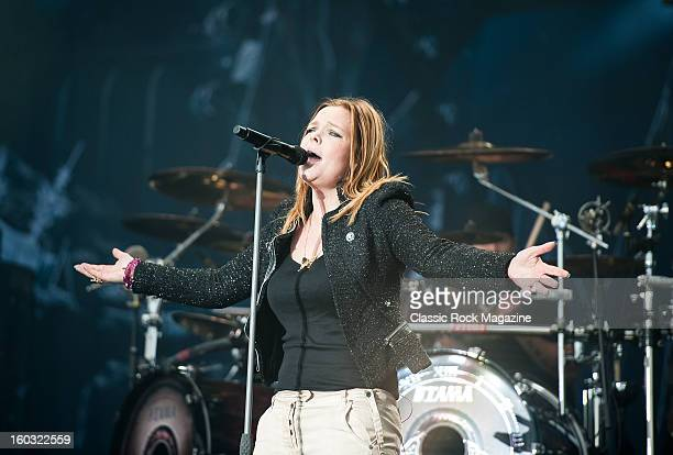 Vocalist Anette Olzon of Finnish symphonic metal group Nightwish performing live on the Zippo Encore Stage at Download Festival on June 8 2012