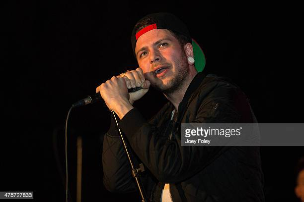 Vocalist Angelo Aita of Canadian metalcore band Abandon All Ships performs live onstage in concert at The Emerson Theater on February 28 2014 in...