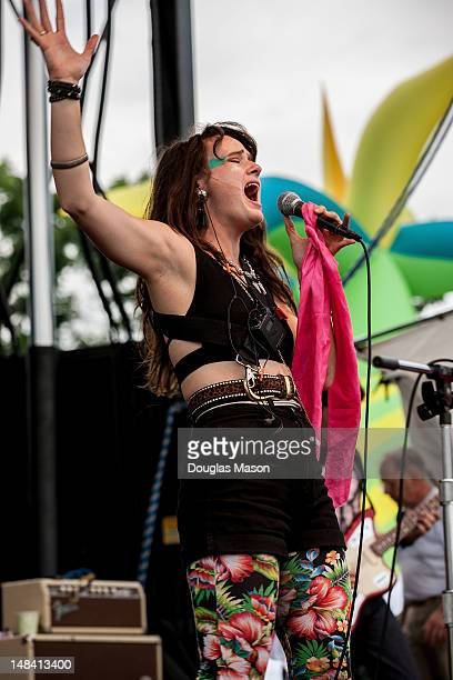Vocalist Annakalmia Traver performs with Rubblebucket at the 2012 Green River Festival at Greenfield Community College on July 15 2012 in Greenfield...
