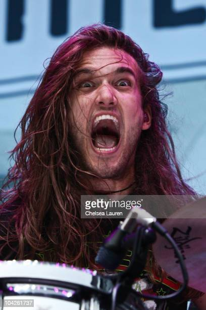Vocalist Arejay Hale of Halestorm performs at Verizon Wireless Amphitheater on September 17 2010 in Irvine California