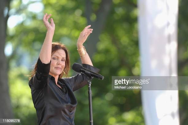 Vocalist Belinda Carlisle of the GoGo's performs on ABC's Good Morning America at Rumsey Playfield Central Park on June 3 2011 in New York City