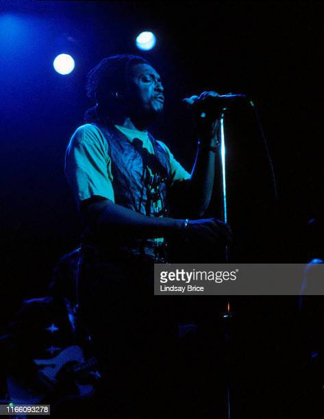 Vocalist Bernard Fowler performs with Ron Wood at The Palace in Hollywood on November 18 1992 in Los Angeles