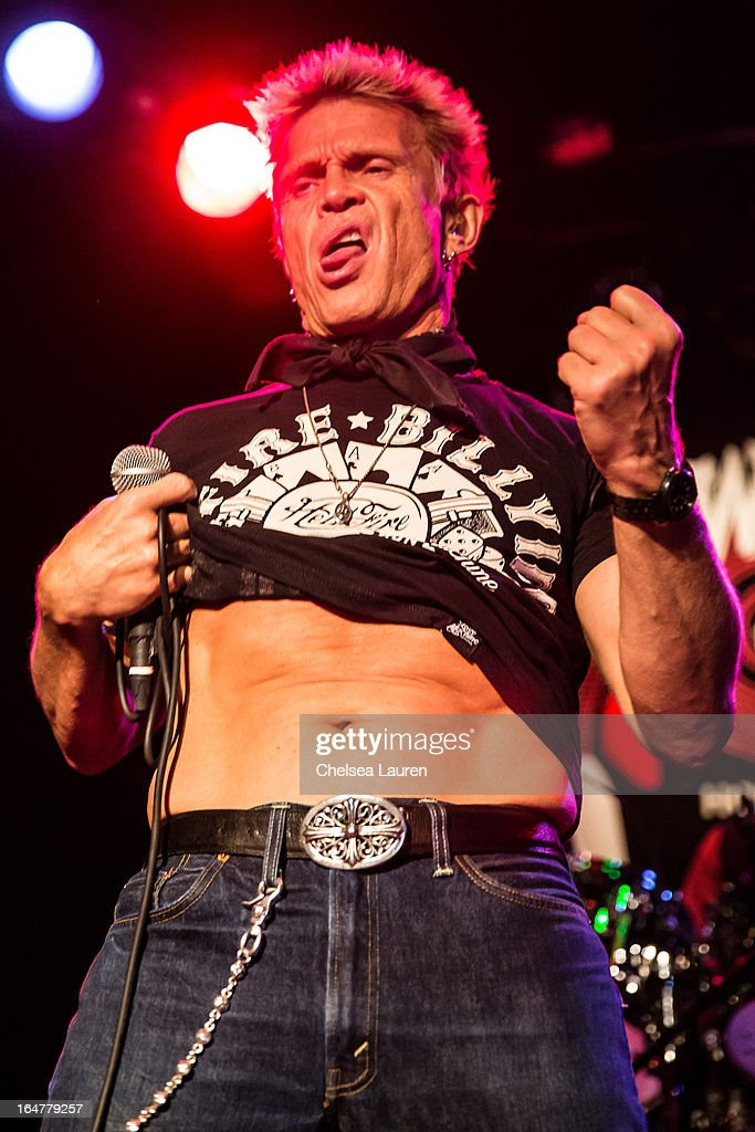 Vocalist Billy Idol performs at the Rock Against MS benefit concert at The Whisky a Go Go on March 27, 2013 in West Hollywood, California.