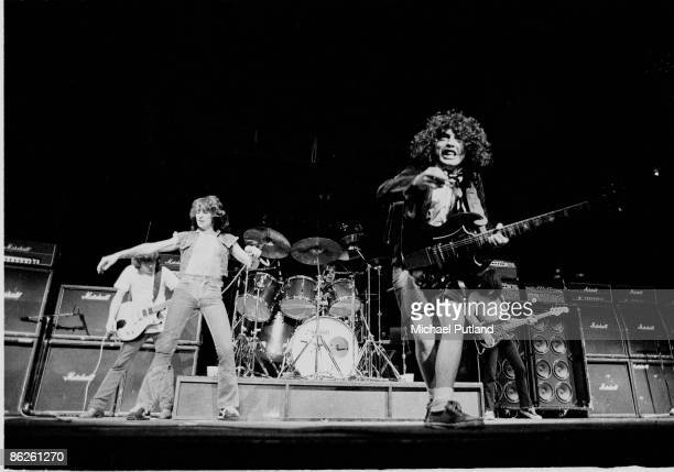 Vocalist Bon Scott in concert with Australian rock band AC/DC in New York August 1979