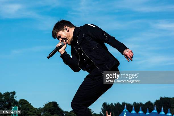 Vocalist Brent Smith of American hard rock group Shinedown performing live on stage during Download Festival at Donington Park England on June 10 2018