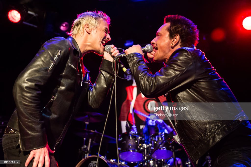 Vocalist Brett Scallions of Fuel (L) and guitarist Billy Morrison of Billy Idol perform at the Rock Against MS benefit concert at The Whisky a Go Go on March 27, 2013 in West Hollywood, California.