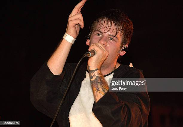 Vocalist Caleb Shomo of Attack Attack performs onstage in a Halloween costume in concert at The Emerson Theater on October 26 2012 in Indianapolis...