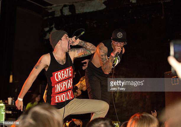 Vocalist Caleb Shomo of Attack Attack performs onstage with Jay Panesso and the other members of the band Sylar in concert at The Emerson Theater on...