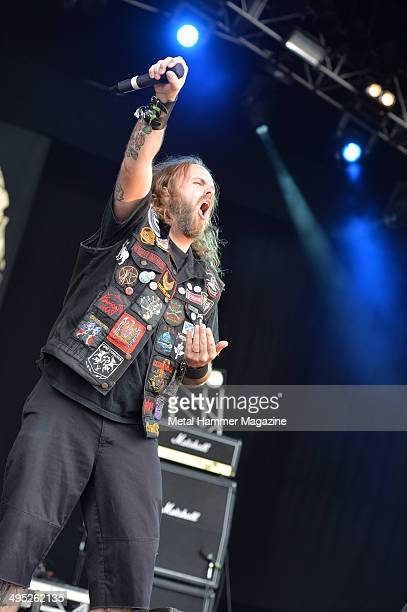 Vocalist Cam Pipes of Canadian heavy metal group 3 Inches Of Blood performing live on stage at Bloodstock Open Air festival in Derbyshire on August...