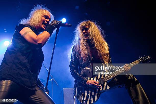 Vocalist Chris Boltendahl and guitarist Axel Ritt of Grave Digger perform at The Fillmore on November 19 2015 in San Francisco California