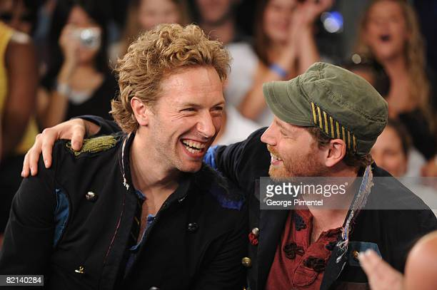 Vocalist Chris Martin and Guitarist Jonny Buckland of Coldplay Visit MuchOnDemand at MuchMusic Headquarters on July 31 2008 in Toronto ON Canada