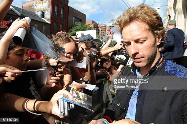 Vocalist Chris Martin of Coldplay Visit MuchOnDemand at MuchMusic Headquarters on July 31 2008 in Toronto ON Canada