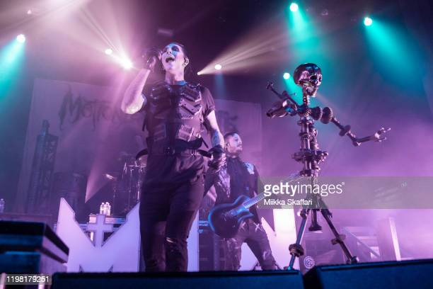 Vocalist Chris Motionless Cerulli and guitarist Ryan Sitkowski of Motionless In White perform at The Regency Ballroom on January 07 2020 in San...