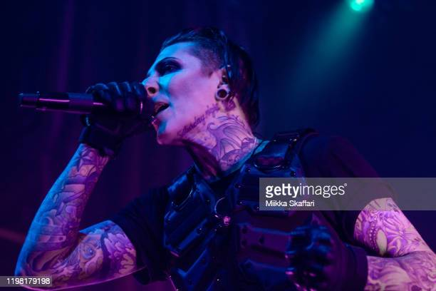 Vocalist Chris Motionless Cerulli of Motionless In White performs at The Regency Ballroom on January 07 2020 in San Francisco California