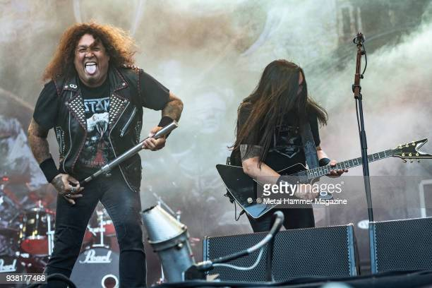 Vocalist Chuck Billy and guitarist Eric Peterson of American thrash metal group Testament performing live on stage at Bloodstock Open Air Festival in...