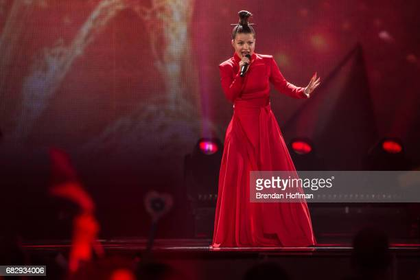 Vocalist Cilia of Fusedmarc the contestant from Lithuania performs during the second Eurovision semifinal on May 11 2017 in Kiev Ukraine Ukraine is...