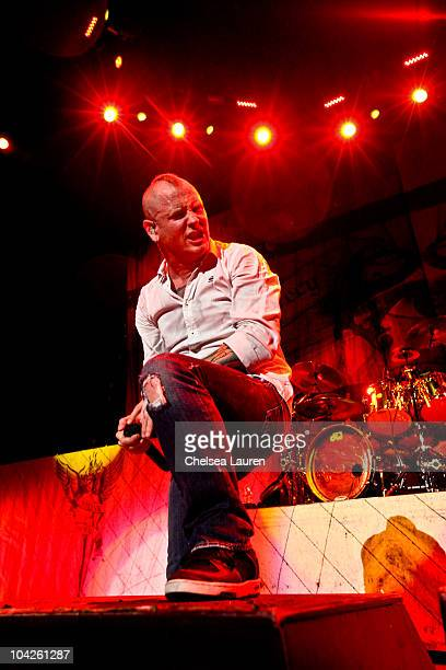 Vocalist Corey Taylor of Stone Sour performs at Verizon Wireless Amphitheater on September 17 2010 in Irvine California