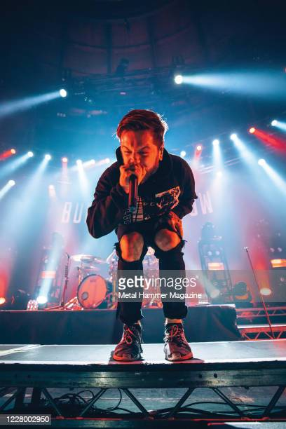 Vocalist Daniel WinterBates of English metalcore group Bury Tomorrow performing live on stage at The Roundhouse in London on December 21 2019