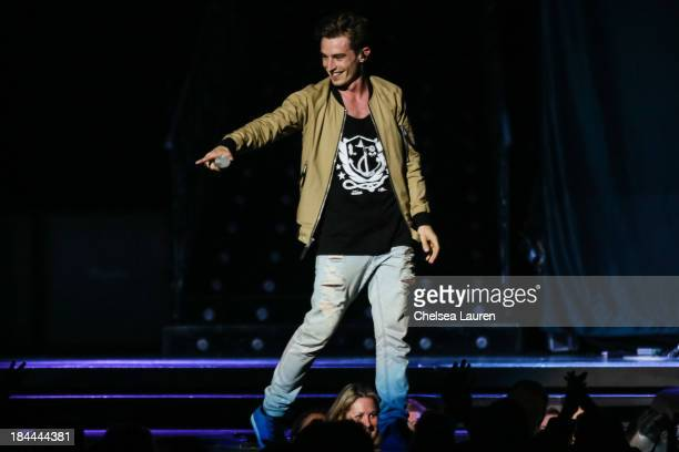 Vocalist David Boyd of New Politics performs at Staples Center on October 13 2013 in Los Angeles California