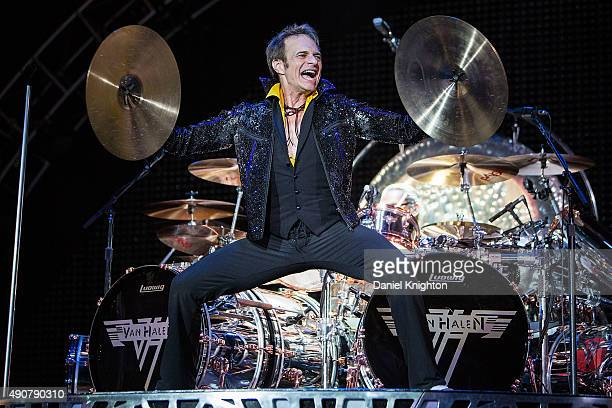 Vocalist David Lee Roth of Van Halen performs on stage at Sleep Train Amphitheatre on September 30 2015 in Chula Vista California