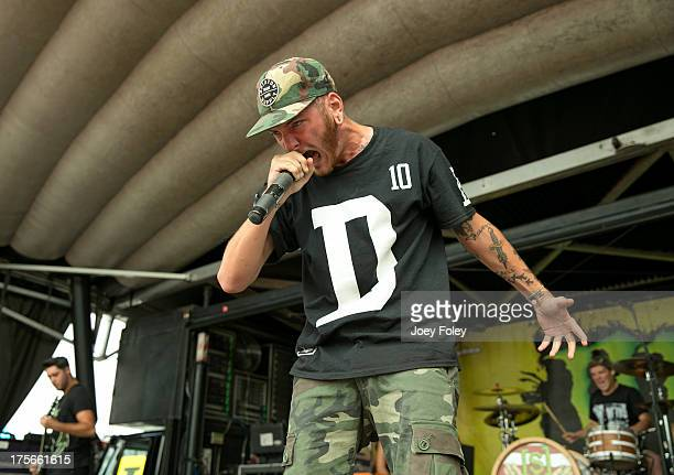 Vocalist Doriano Magliano of Woe Is Me performs during the 2013 Van Warped Tour at Riverbend Music Center on July 30 2013 in Cincinnati Ohio