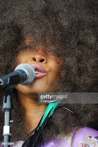 Vocalist Erykah Badu performs during the 2009 New Orleans Jazz Heritage Festival Presented by Shell at the New Orleans Fairgrounds and Racetrack on...