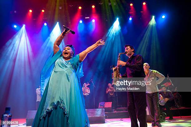 Vocalist Esma Redzepova from Macedonia performs on stage with The Legendary Gypsy Queens and Kings at the Royal Festival Hall on October 19 2009 in...