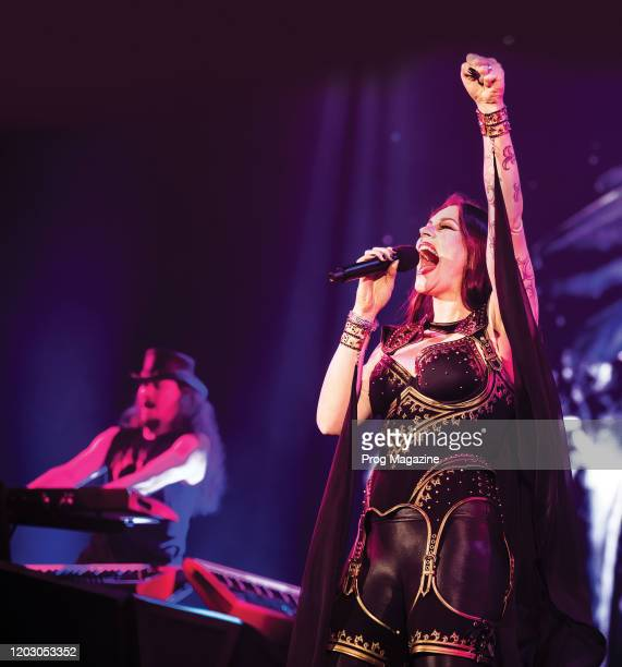 Vocalist Floor Jansen of Finnish symphonic metal group Nightwish performing live on stage at Wembley Arena in London on December 8 2018