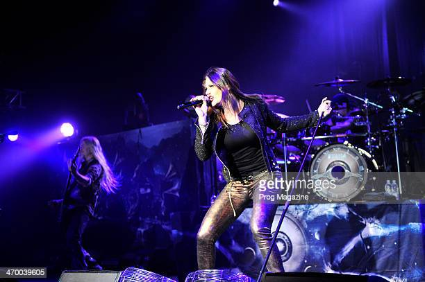 Vocalist Floor Jansen performing live on stage with Finnish symphonic metal group Nightwish at Shepherd's Bush Empire in London, on November 5, 2012.