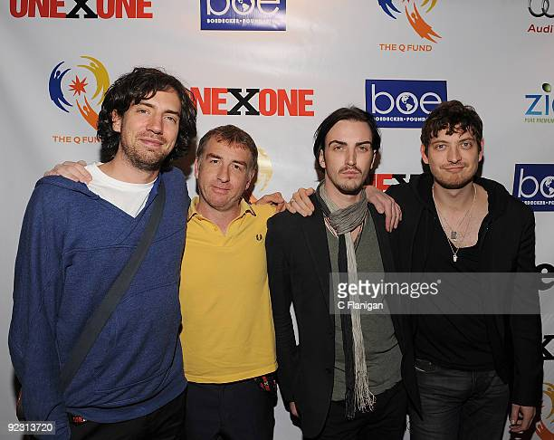 Vocalist Gary Lightbody, Guitarist Nathan Connolly, Bassist Paul Wilson and Jonny Quinn of Snow Patrol attend the ONEXONE Gala on October 22, 2009 in...
