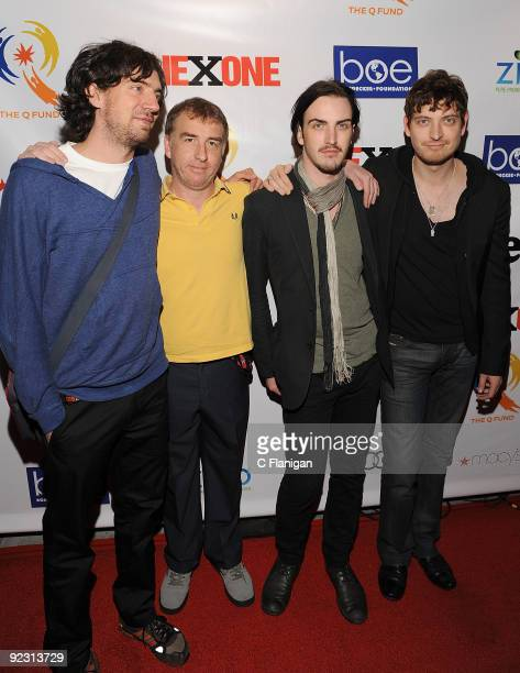 Vocalist Gary Lightbody Guitarist Nathan Connolly Bassist Paul Wilson and Jonny Quinn of Snow Patrol attend the ONEXONE Gala on October 22 2009 in...