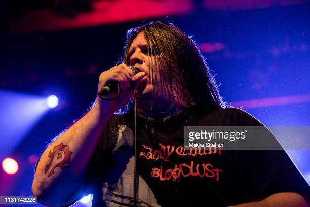 """Vocalist George """"Corpsegrinder"""" Fisher Of Cannibal Corpse performs at The Regency Ballroom on February 23, 2019 in San Francisco, California."""