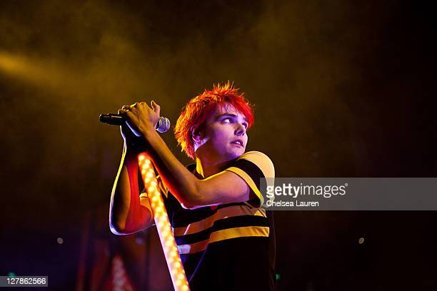 Vocalist Gerard Way of My Chemical Romance performs at Honda Center on October 1 2011 in Anaheim California