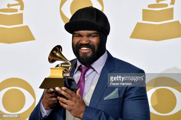 Vocalist Gregory Porter winner of Best Jazz Vocal Album for Liquid Spirit poses in the press room during the 56th GRAMMY Awards at Staples Center on...