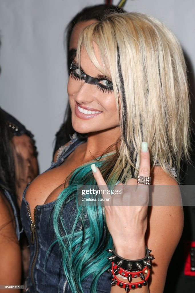 Vocalist Heidi Shepherd of Butcher Babies attends the 6th annual Rockstar energy drink Mayhem festival press conference at The Whiskey A Go Go on March 18, 2013 in West Hollywood, California.