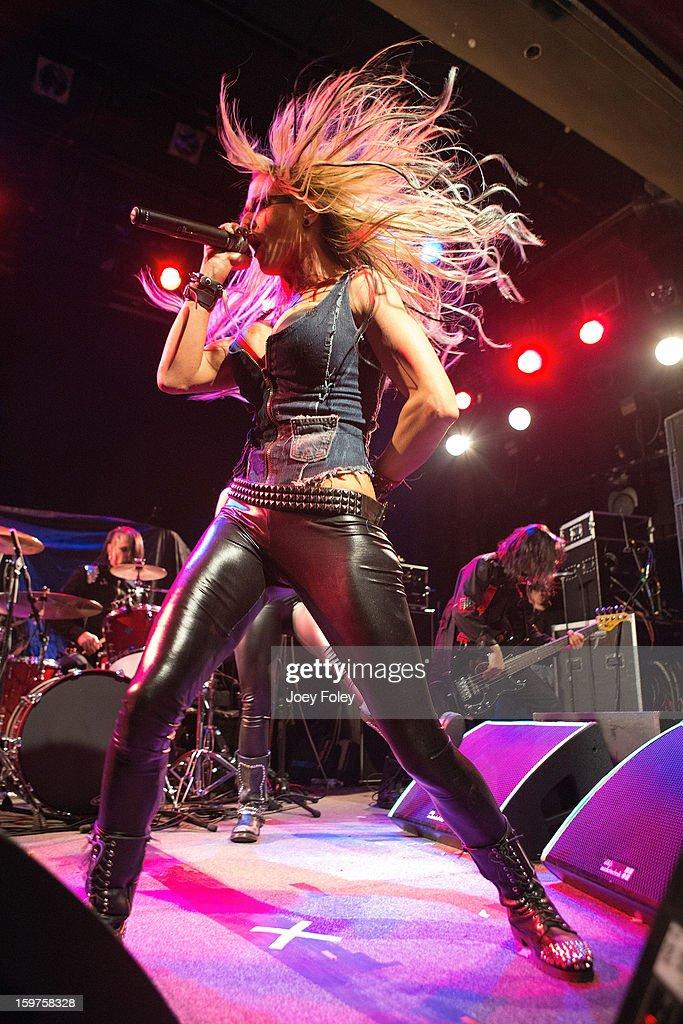 Vocalist Heidi Shepherd of Butcher Babies performs onstage at Bogart's on January 19, 2013 in Cincinnati, Ohio.