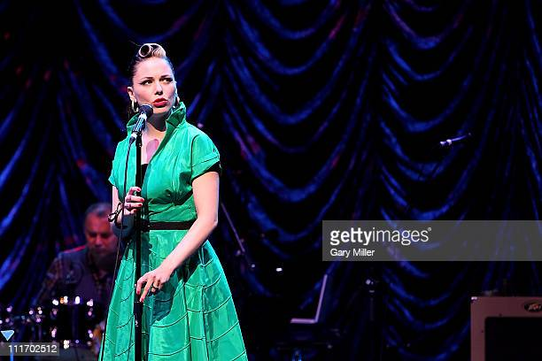 Vocalist Imelda May performs in concert with Jeff Beck at ACL Live on April 5 2011 in Austin Texas